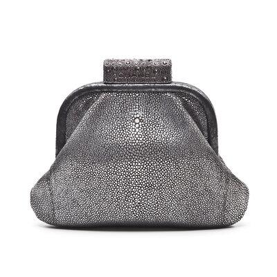 Clutch Chanel Metalic Silver Stingray Prateada
