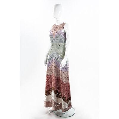 Vestido Longo Valentino Bordado Colorido
