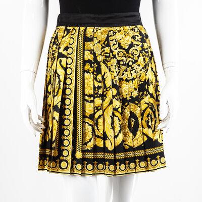 Saia Plissada Versace Seda Estampado com Amarelo