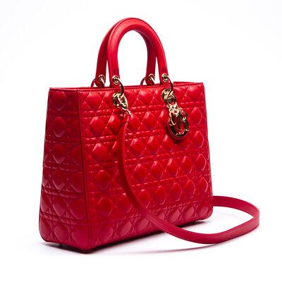 Bolsa Christian Dior Lady Dior em Couro Vermelha
