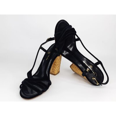 Sandália Chanel Camurça Preta