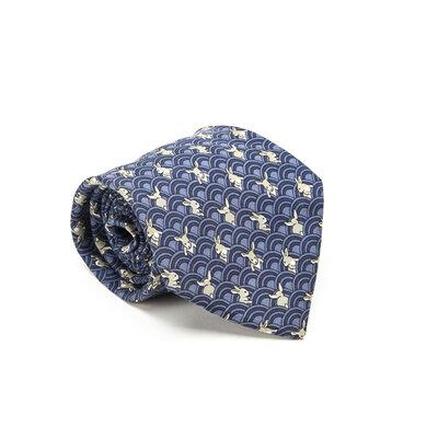 Gravata Hermès Seda Estampada Azul e Cinza
