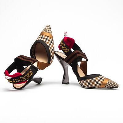 Sapato Fendi Slingback Estampado C/Preto