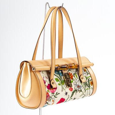Bolsa Gucci Bullet Flora Canvas /Couro Nude/Estampada