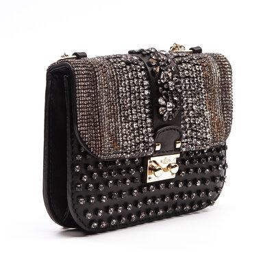 Bolsa Valentino Small Glam Lock Preta C/Strass