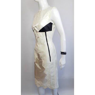 Vestido Louis Vuitton Cetim Renda Off, White