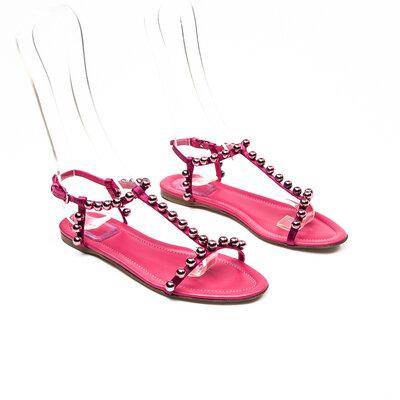 Rasteirinha Dior Couro C/Perolas Pink
