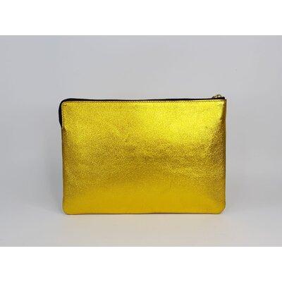 Clutch Celine Couro Dourada