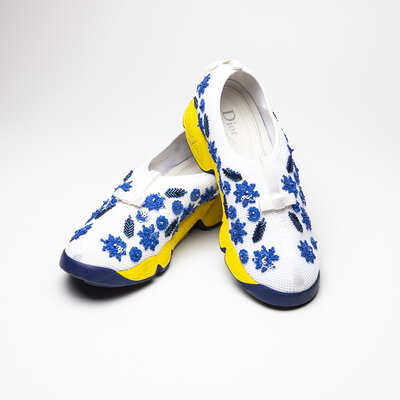 Tenis Dior Bordado Branco/Azul/Amarelo