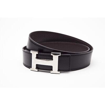 Cinto Hermès em couro preto e marrom