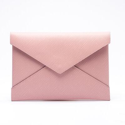 Clutch 3 Peças Louis Vuitton Couro Epi Rosa/Bordô/Vermelha