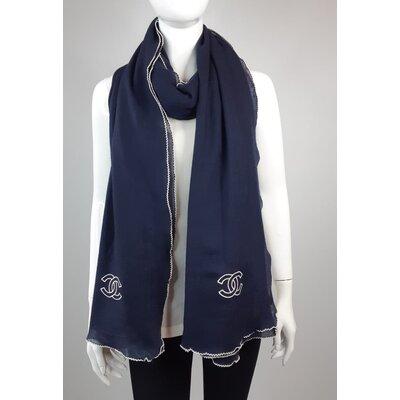 Echarpe Chanel Cashmere Azul Marinho