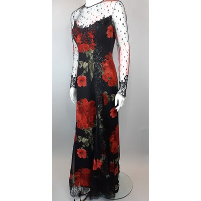 Vestido Longo Manga Loris Azzaro Seda e Musseline Vermelho e Preto