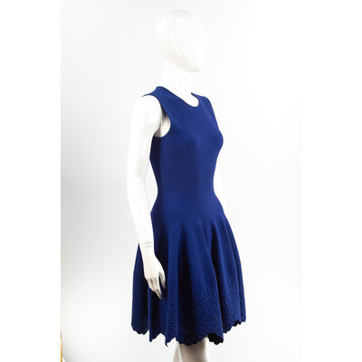 Vestido Alexander Mcqueen Strech Azul Bic