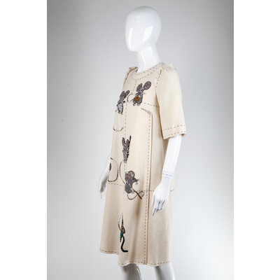 Vestido Dolce & Gabbana em Crepe com Bordado Off White