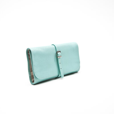 Porta Jóias Tiffany & Co Leather Roll em couro turquesa