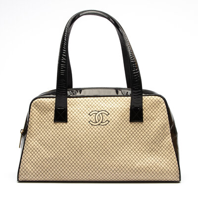 Bolsa Chanel Jersey E Verniz Off White E Preta