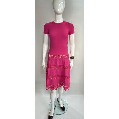 Vestido Valentino em Strech com Renda Pink