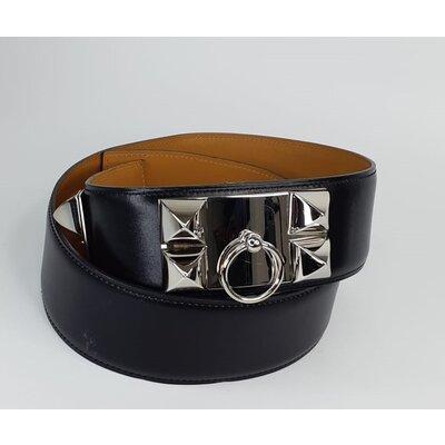 Cinto Hermès Collier De Chien Couro Preta