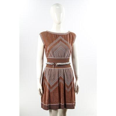 Vestido Com Cinto Chanel Preto/Laranja/Branco