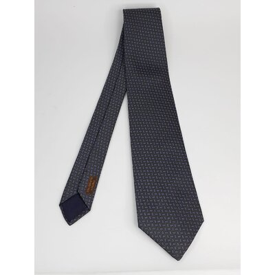 Gravata Hermès Seda Cinza e Azul