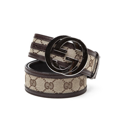 Cinto Gucci em Canvas logomarca