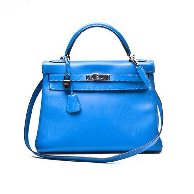 Bolsa Hermès Kelly 32 Clemence em Azul Bic