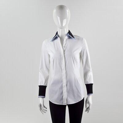 Camisa Dior branca, c/ punhos e gola bordada em preto