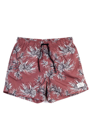 SWIM SHORT FLORAL WINE
