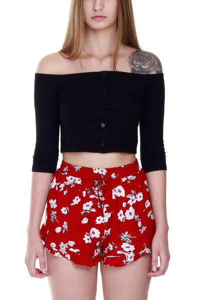 CROPPED BUTTONS BLACK