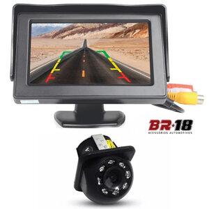Kit Monitor com Tela e Câmera de Ré Tartaruga com LED