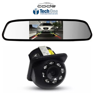 Kit Retrovisor com Câmera de Ré Tartaruga Com LED