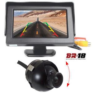 Kit Monitor com Tela e Câmera de Ré Tartaruga Ajustável