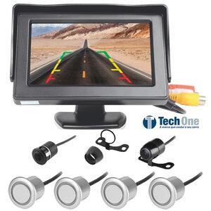 Kit Estacionamento com Monitor Câmera e Sensor de Ré