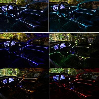 Fita Neon Led RGB Luz Interna Painel Carro 6 Metros de 5 Canhões