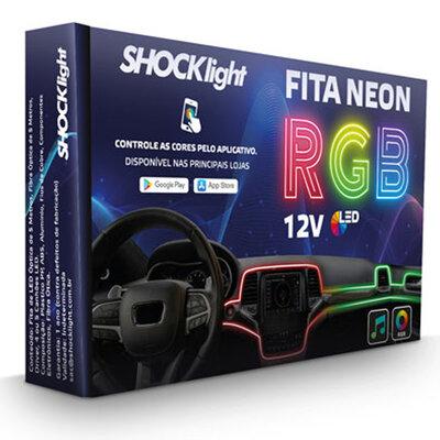Fita Neon Led RGB Luz Interna Painel Carro 6 Metros de 4 Canhões