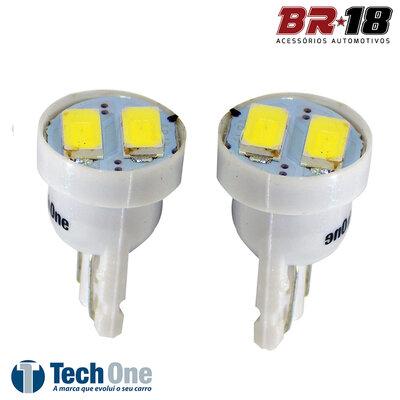 Par Lâmpada Led Pingo T10 2p 12V 5W Branca Aplicação Placa Teto Porta Malas