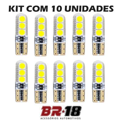 10 Unidades (5 Pares) LED T10 Pingo 6 Pontos Silicone Cambus
