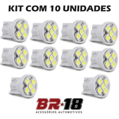 10 Unidades (5 Pares) LED T10 Pingo 5 Pontos