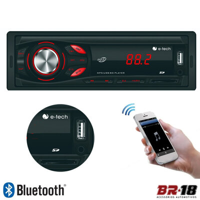 Auto Rádio MP3 Player Light Bluetooth FM USB SD-Card Auxiliar