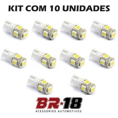 10 Unidades (5 Pares) LED T10 Pingo 5 Pontos Torre