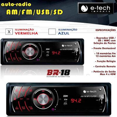 Auto Rádio MP3 AM FM Frente Destacável Removível USB SD Card