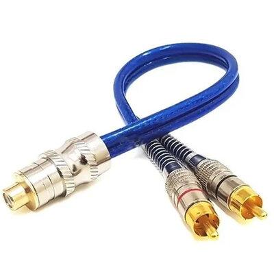 Cabo Y RCA 1 Fêmea 2 Machos 5mm Dupla Blindagem Azul Plug Conectores Duplos Banhado a Ouro