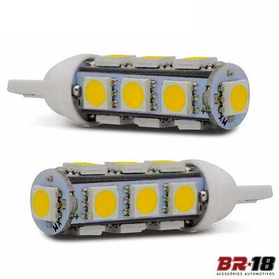 Par Lâmpada Led Pingo T10 13 LEDs TORRE 12V 5W Branca Aplicação Placa Teto Porta Malas