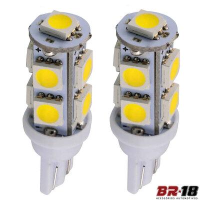 Par Lâmpada Led Pingo T10 9 LEDs TORRE 12V 5W Branca Aplicação Placa Teto Porta Malas