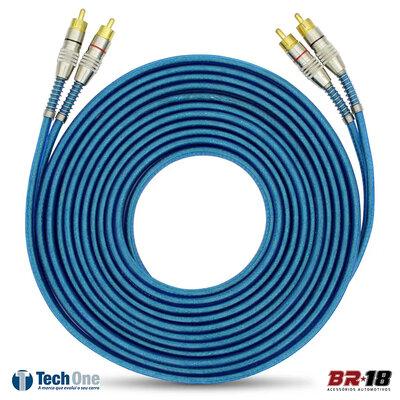 Cabo RCA 5 metros 5mm Dupla Blindagem Azul Plug Conectores Duplos Banhado a Ouro