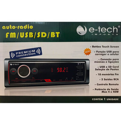 Auto Rádio MP3 Player Premium Bluetooth FM USB SD-Card