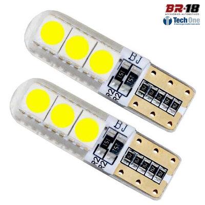Par Lâmpada LED Pingo T10 6 LEDs TORRE SILICONE CANCELLER CAMBUS 12V 5W Branca Aplicação Placa Teto