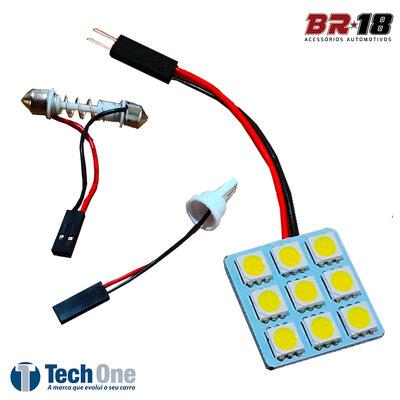 Placa 9 LEDs Lâmpada Torpedo Pingo T10 12V Branco Aplicação na Placa Teto Porta Malas