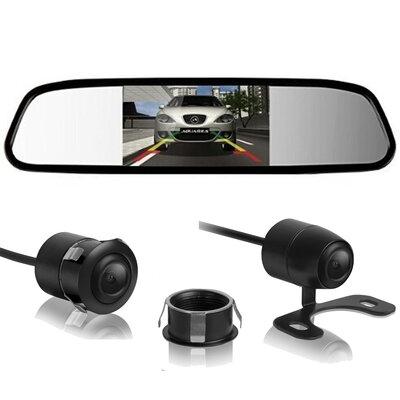 Kit Espelho Retrovisor Interno com Tela LCD Com Câmera de Ré 2x1